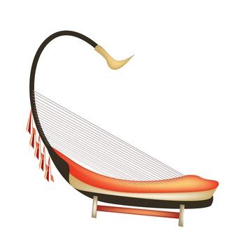 Harpspelen met bladmuziek